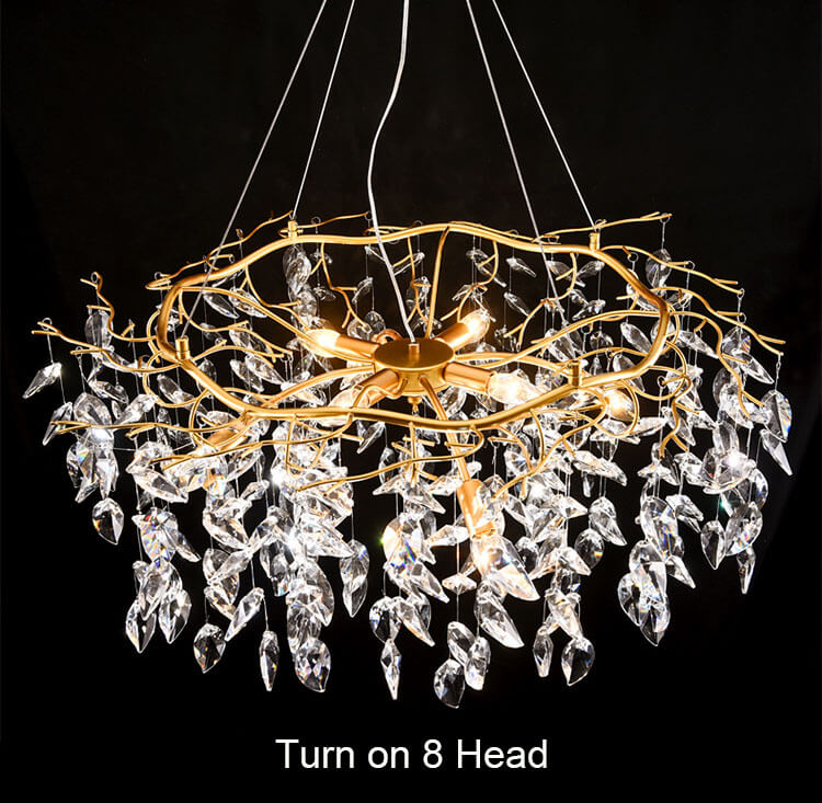 French style light luxury creative crystal chandelier for living room Turn on