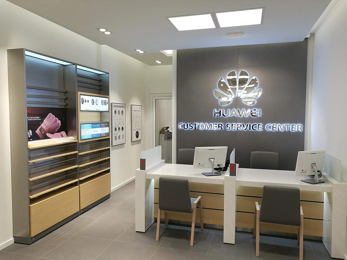 Customer reception area and logo wall