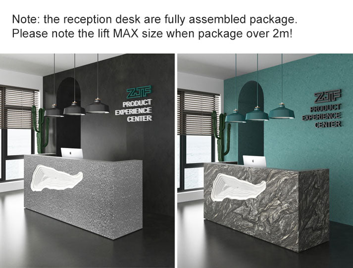 Note: the reception desk are fully assembled package. Please note the lift MAX size when package over 2m!