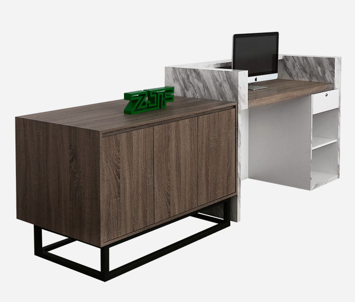 The back structure of the reception desk