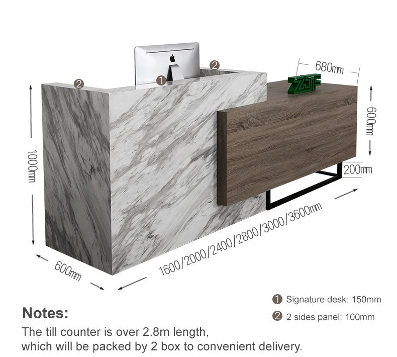Notes: The till counter is over 2.8m length, which will be packed by 2 box to convenient delivery.