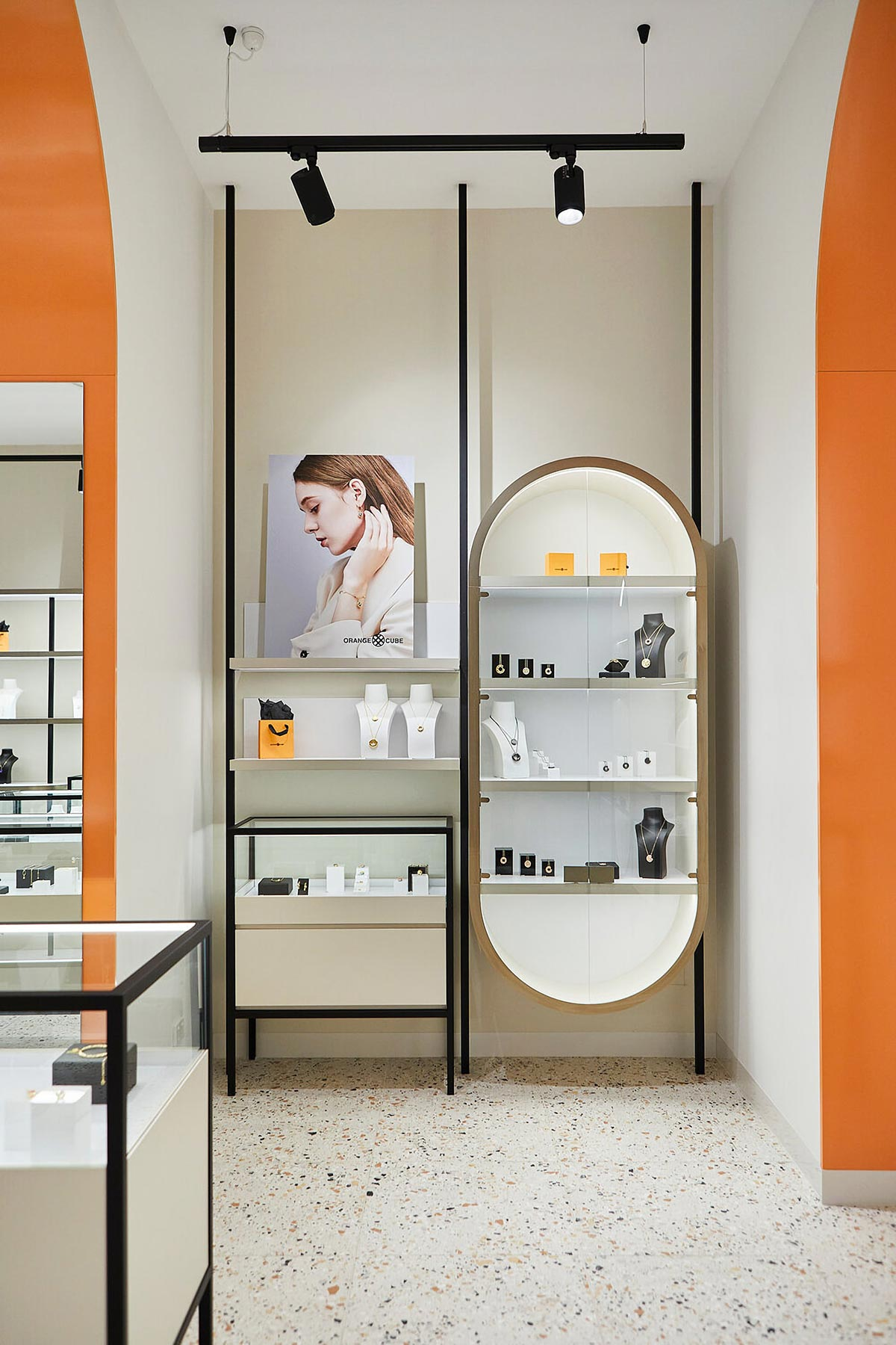 Oval wall display cabinet