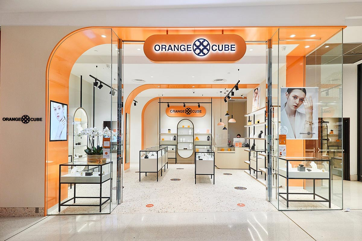 Jewelry store Interior Design by Studio Grayscale - Orange Cube - Westfield Southland VIC