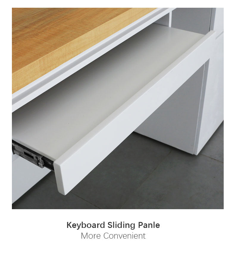 L shaped Modern White Paint Boutique Reception Desk with Wood Counter Top