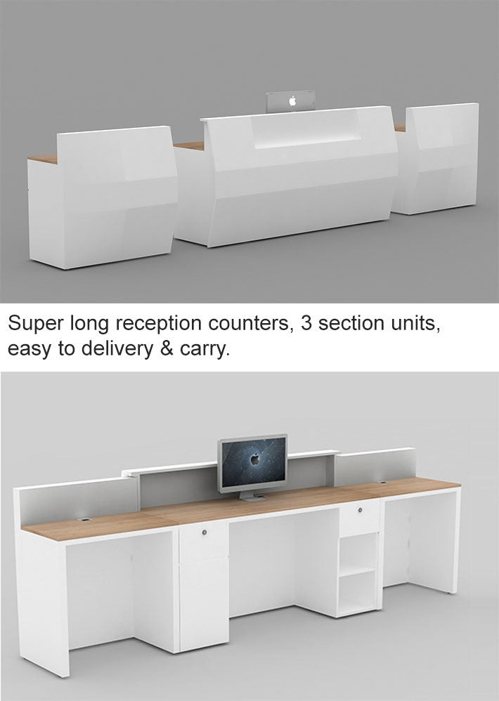 super long reception counters, 3 section units, easy to delivery & carry.