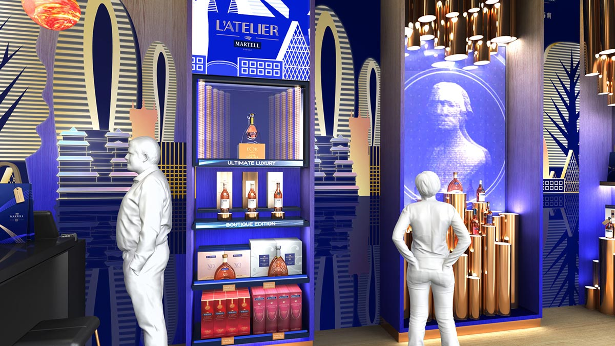 Martell liquor boutique boutique display area
