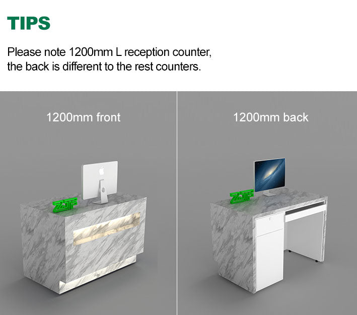 Please note 1200mm L reception counter, the back is different to the rest counters.
