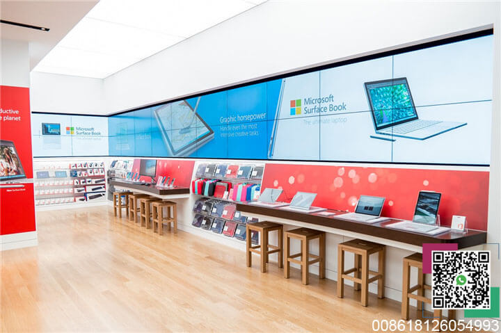 Microsoft computer shop side cabinet experience table with chairs