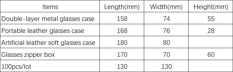 Spectacle case product size chart