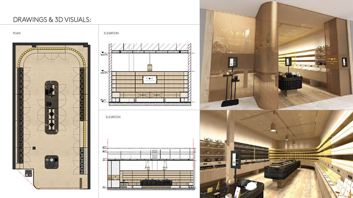 THE TEA CENTRE Store Drawings-3D Visuals