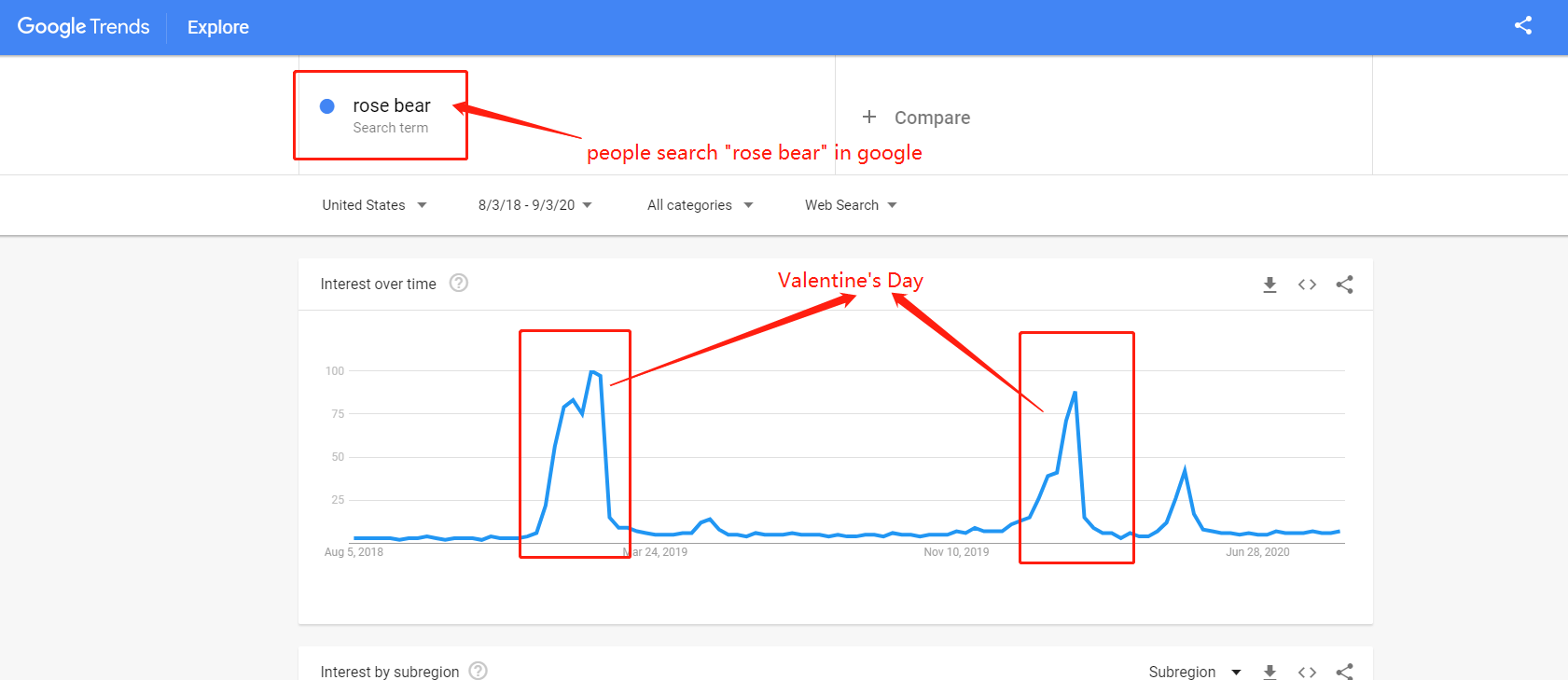 rose bear google trend