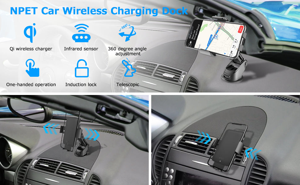 NPET Wireless Car Charger Mount