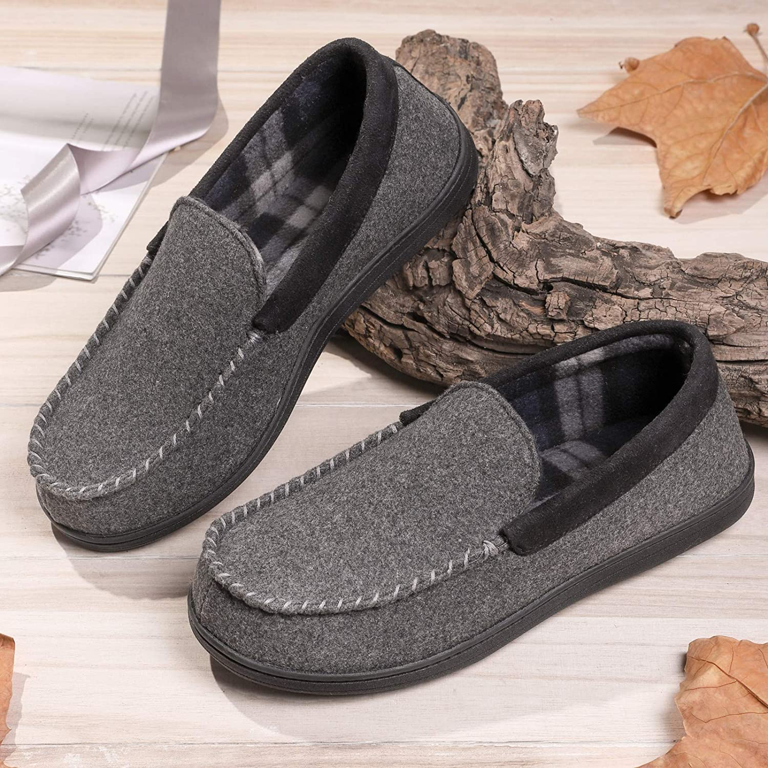Men's Micro Wool Moccasin Slippers