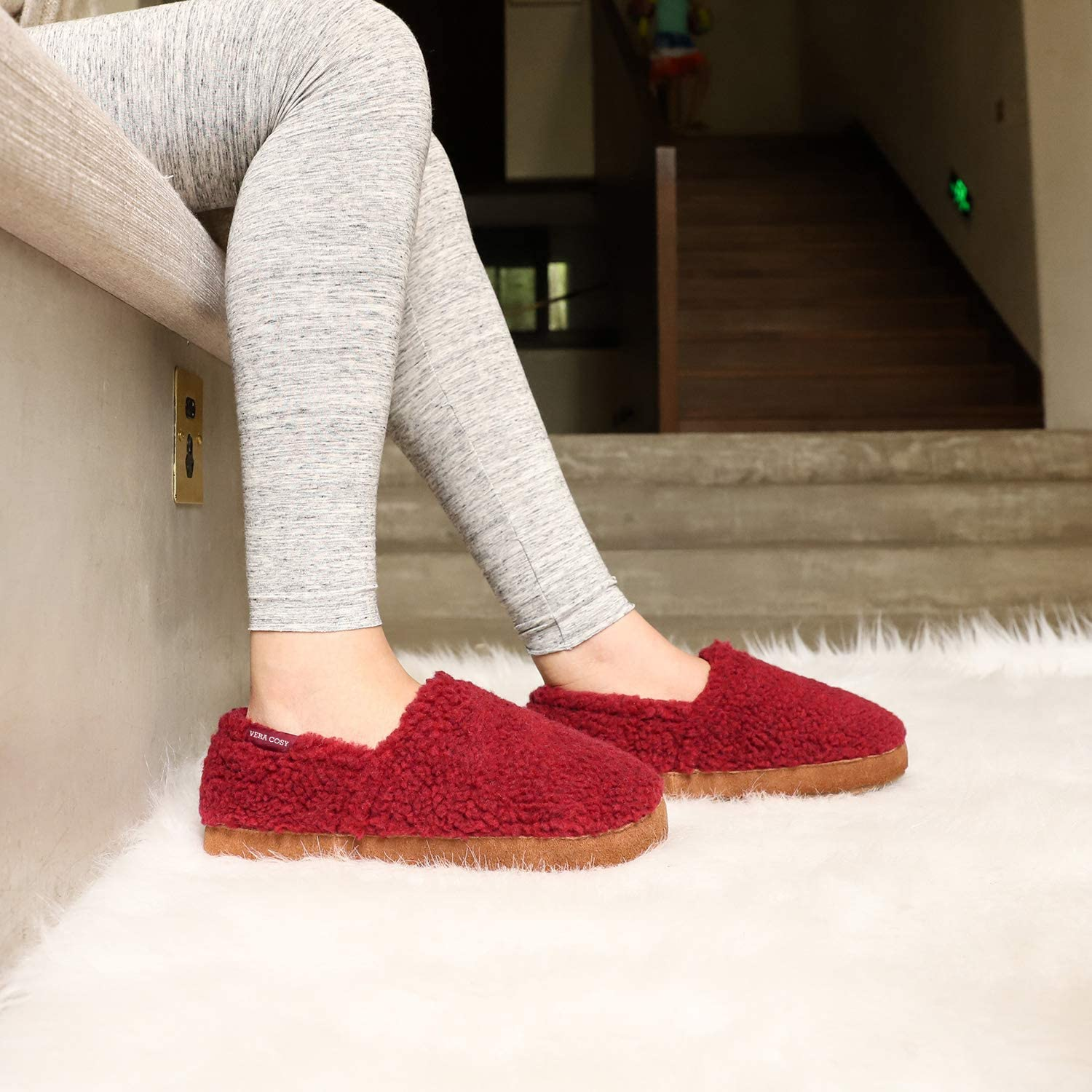 VeraCosy Ladies' Fuzzy Moc House Shoes