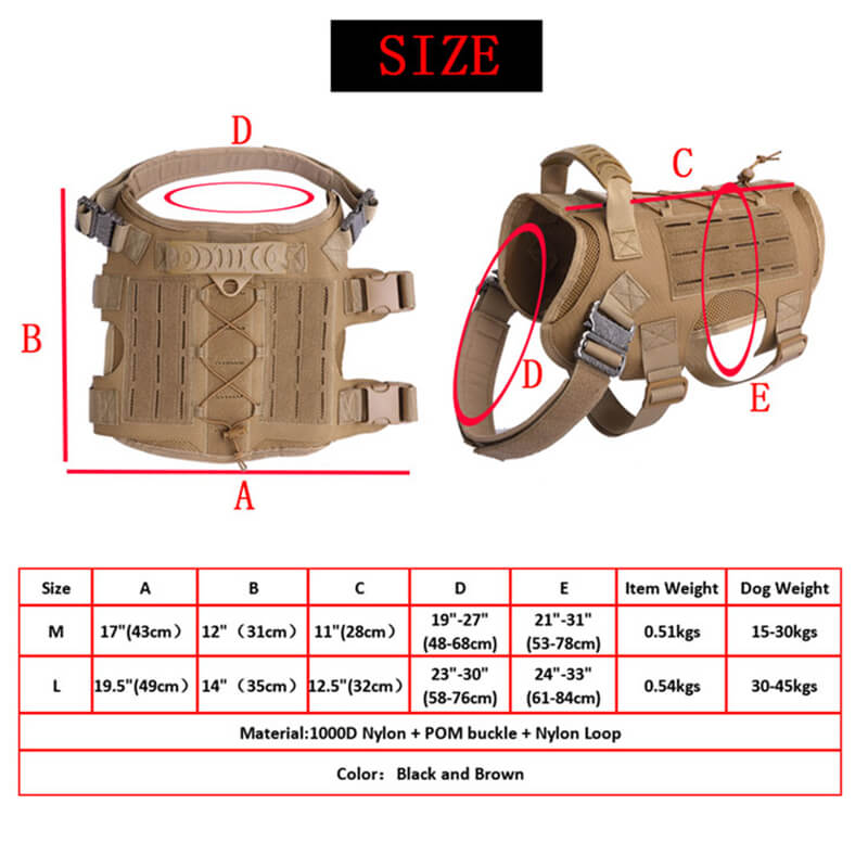 Nylon Tactical Service Dog Harness Heavy Duty Dog Training Harness size chart