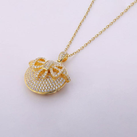 Gold Plated Silver Solid Locket Necklace