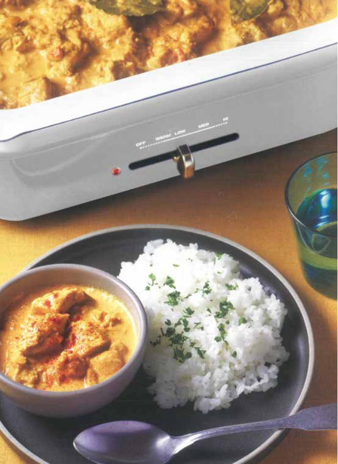 Curry Chicken Rice Food Party 3 in 1 Electric Skillet, Saucepan, and Steamer