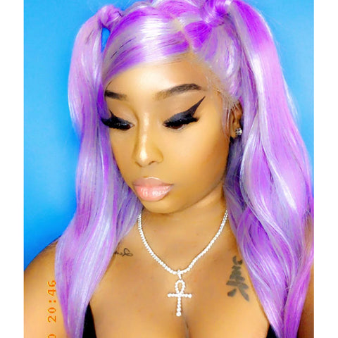 Purple Highlight Wavy Glueless Full Lace Synthetic Wig