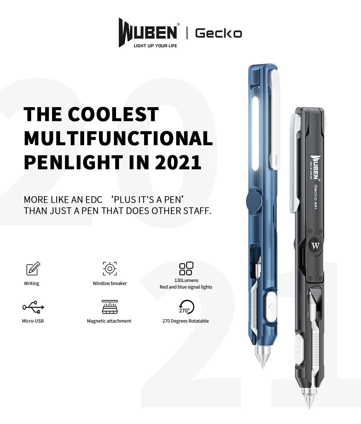 WUBEN Gecko E61 EDC Pen Rechargeable Multi-functional Cool Gadget Everyday Carry Penlight Flashlight 2021 Latest EDC Item