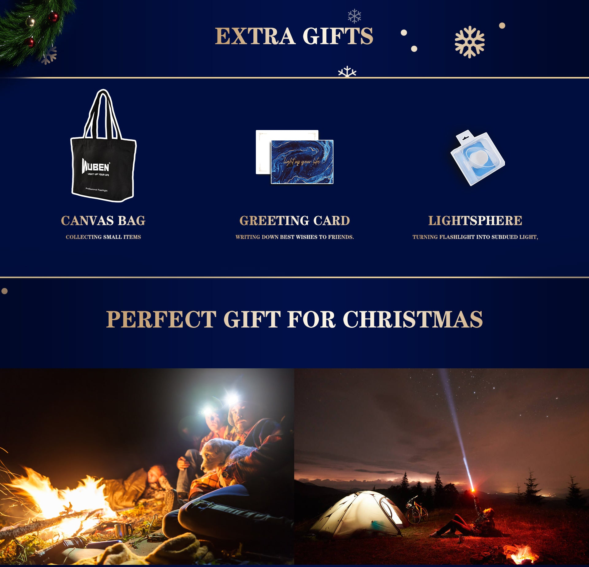 WUBEN Flashlight Kit Christmas Gift Box For Men, Outdoor Enthusiasts