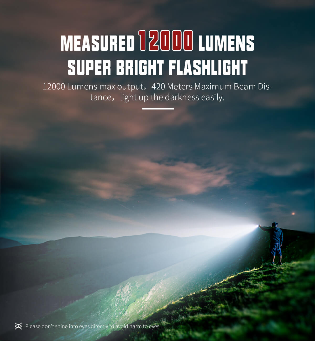 WUBEN A9 Flashlight 12000 Lumens High Power Brightest Rechargeable Waterproof Bright LED Flash light