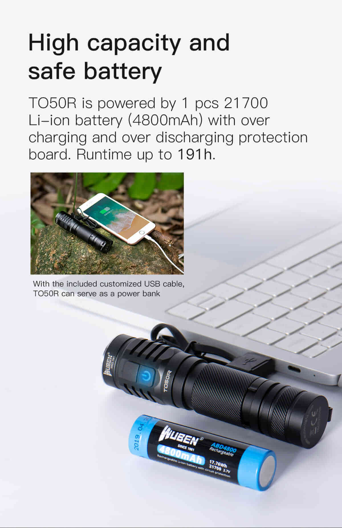 WUBEN® TO50R Flashlight High CRI 2800 Lumens 21700 Power Bank Rechargeable Waterproof LED Torch