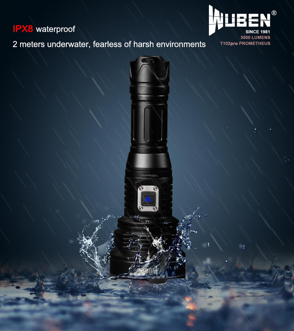 WUBEN T102Pro Flashlight 3500 Lumens 500 meters (1640ft) 26650 Li-ion Battery Type-C Rechargeable Waterproof Light Torch