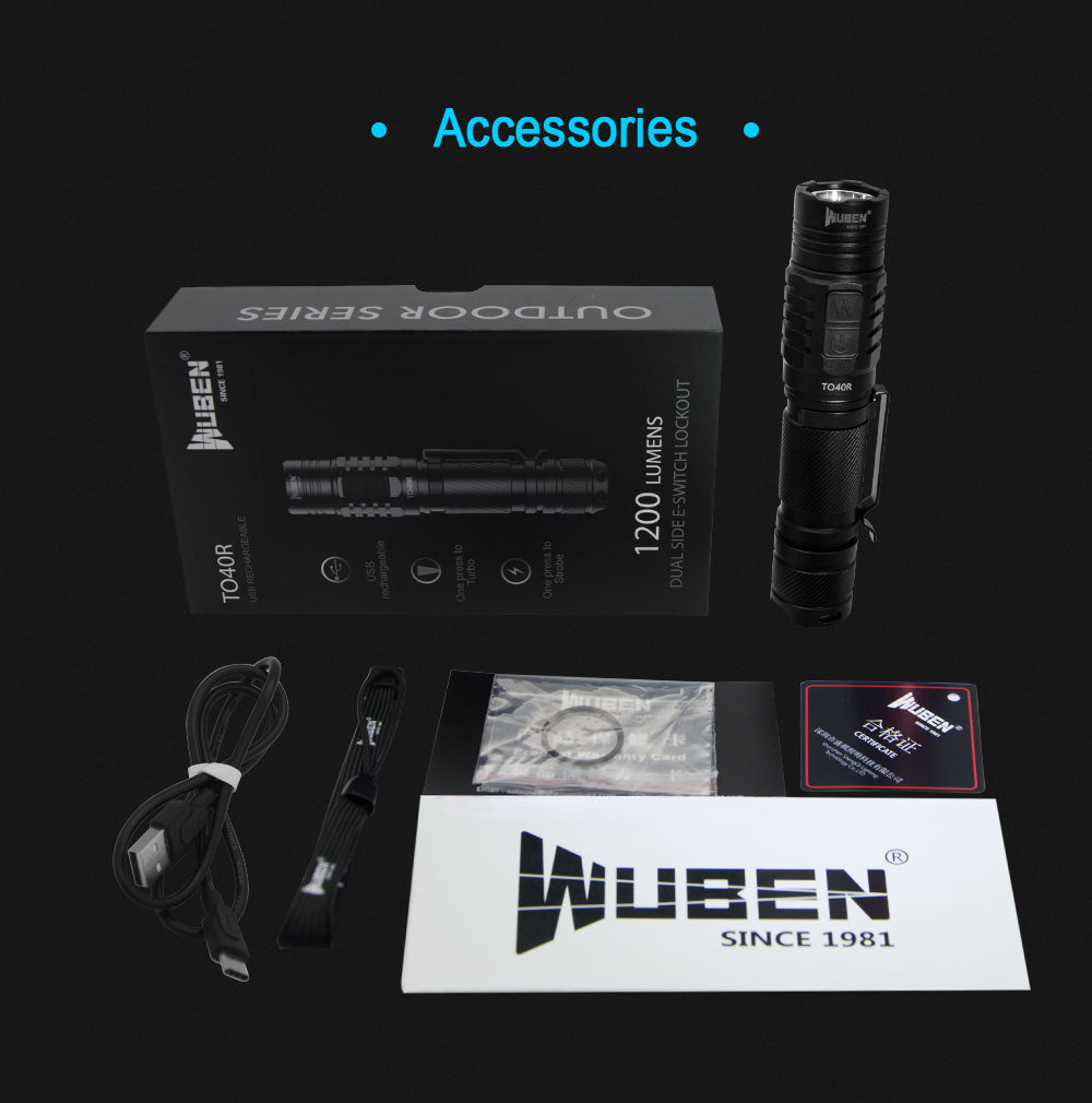WUBEN TO40R Flashlight 1200 Lumens High CRI Value Rechargeable Waterproof Double Switch Outdoor LED Torch