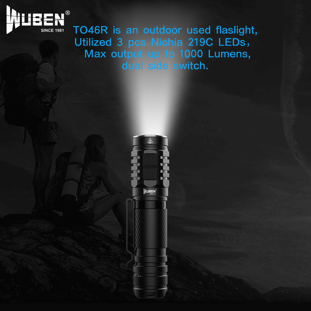 WUBEN TO46R Flashlight High CRI Value 1000 Lumens Rechargeable Waterproof Multifunctional Flash light