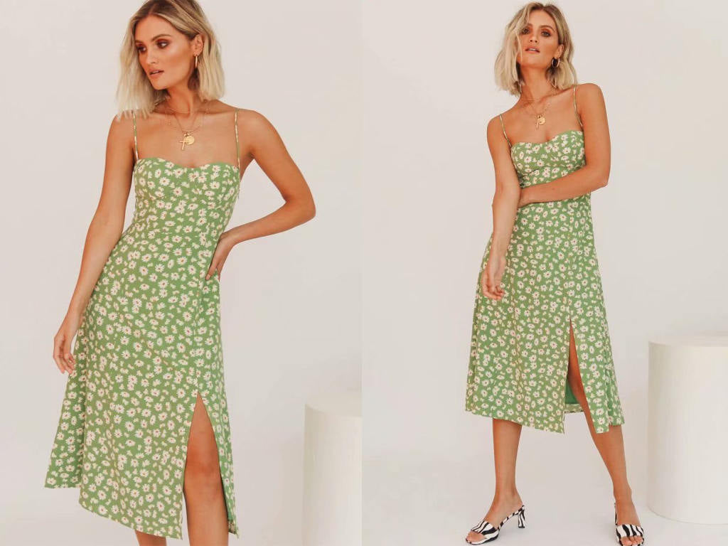 summer green floral print slip dress