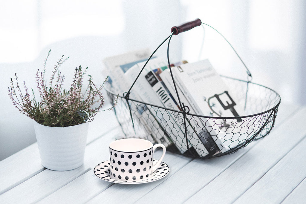 retro white black polka dots coffee cup and saucer set