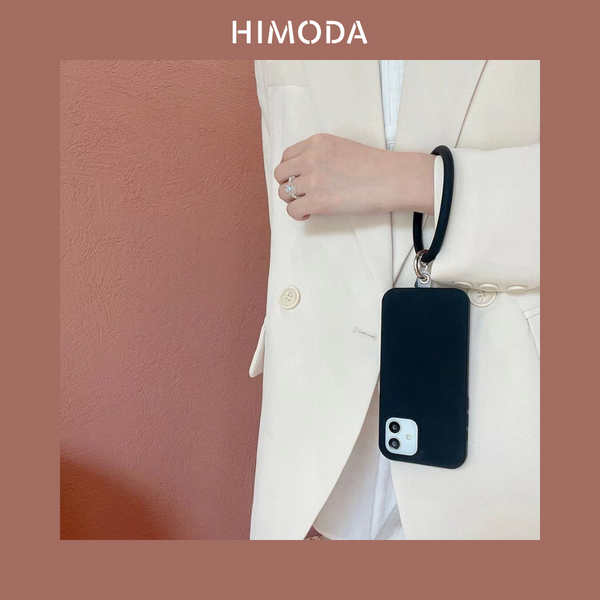 HIMODA silicone iphone 12 /13 case in black with wristlet hoop