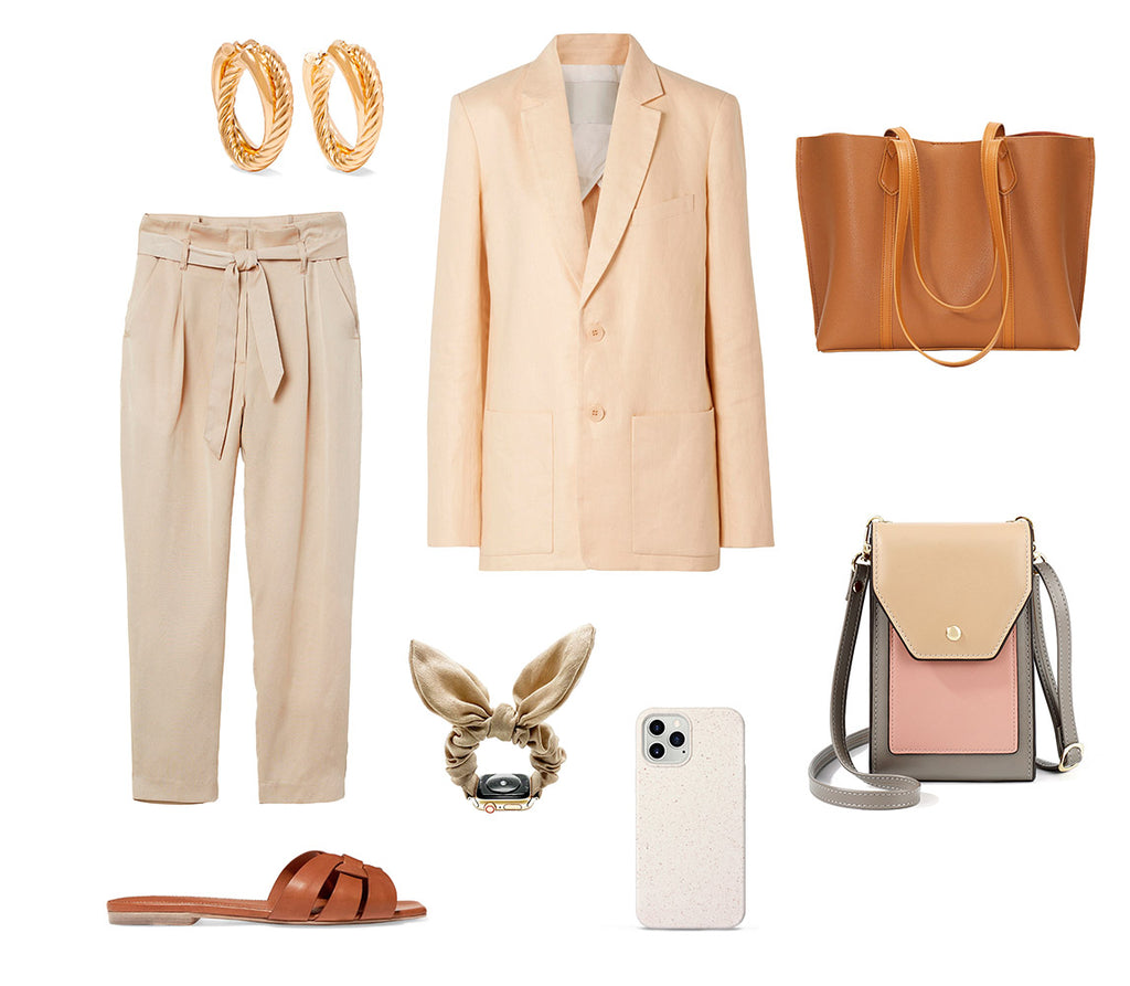 HIMODA beige color styling ideas -spring - camel leather tote bag - phone bag - iphone case 12 - scrunchie watch band