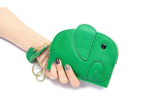 himoda green leather coin purse in baby elephant