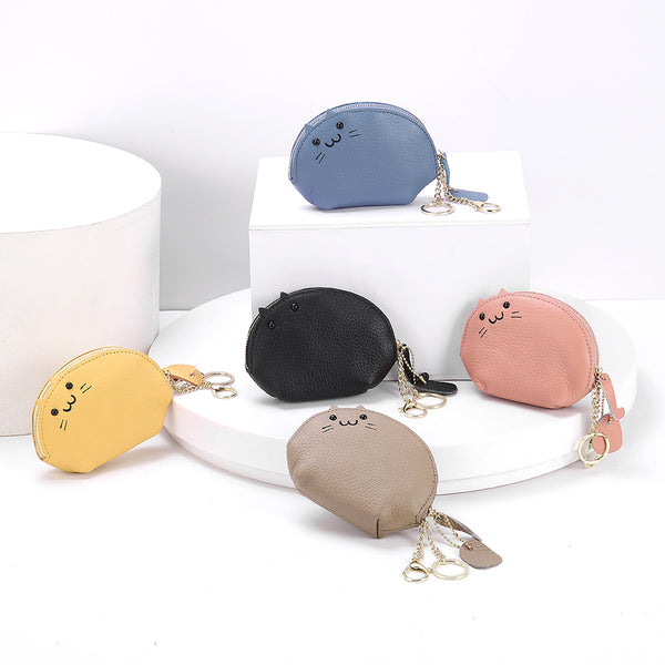 himoda real leather coin purse - kitty-cute cat