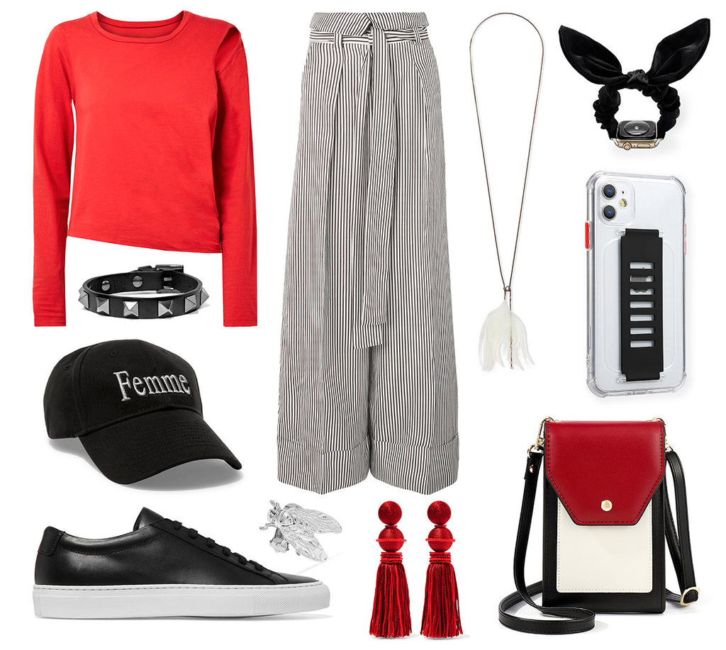 himoda spring styling black and red - phone bag - bunny scrunchie apple watch band