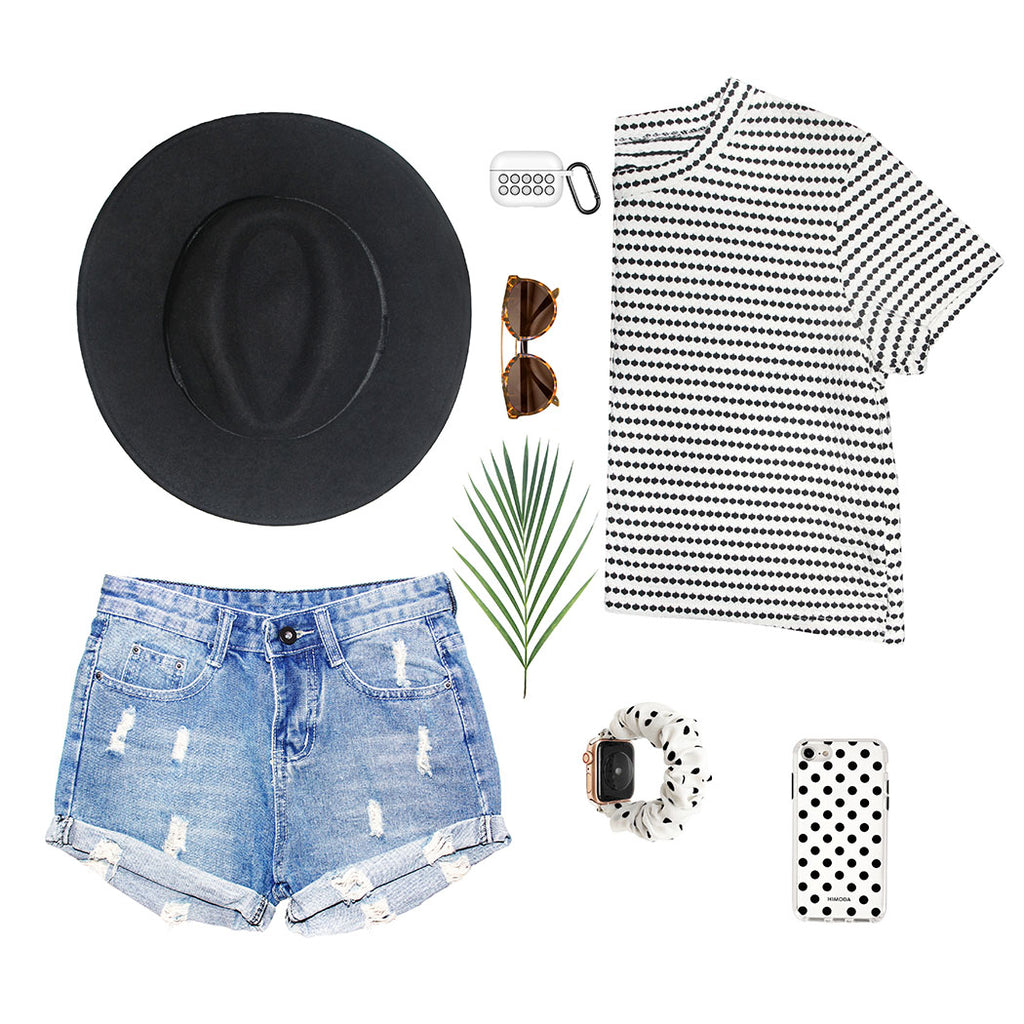 HIMODA white black summer styling - polka dots phone  case- scrunchie watch band-airpods