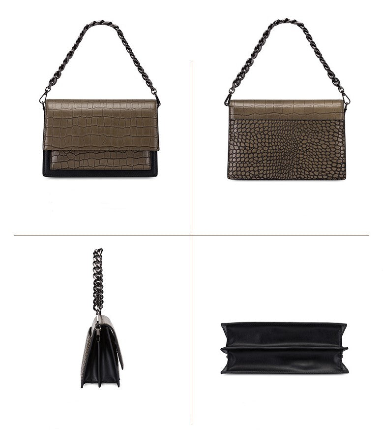 caramel leather accordion bag with chain strap - HIMODA