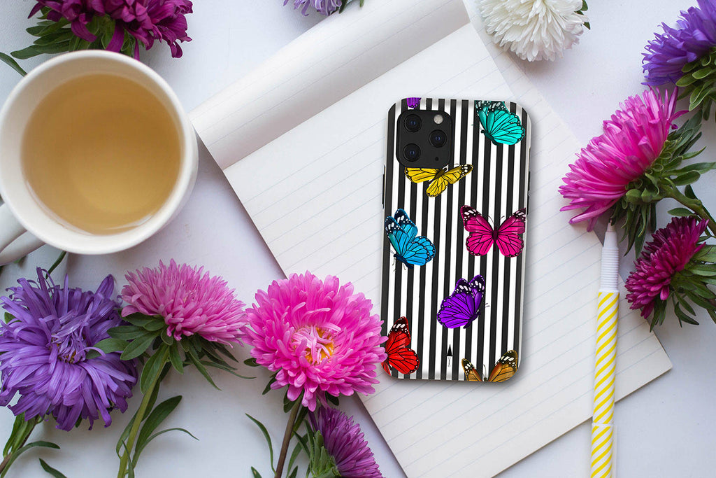 HIMODA blue purple butterfly iphone 12 pro max case on black white stripes