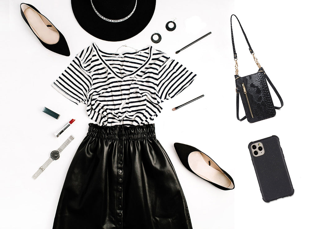 black fashion collage styling idea of cell phone purse and iphone case by HIMODA