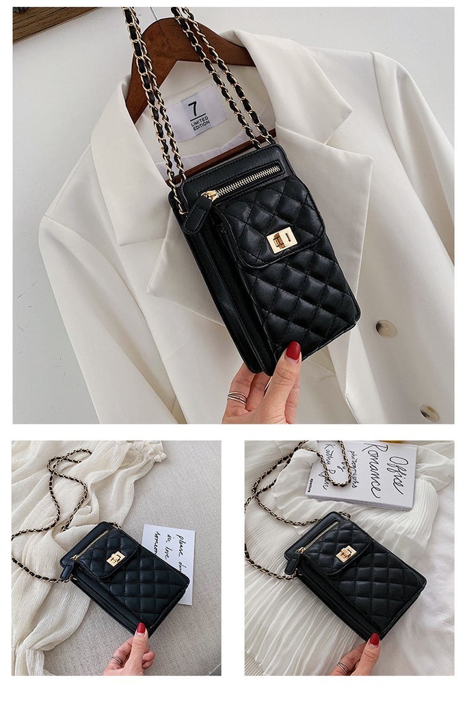 HIMODA quilted leather mini chain bag for cell phone - black classic