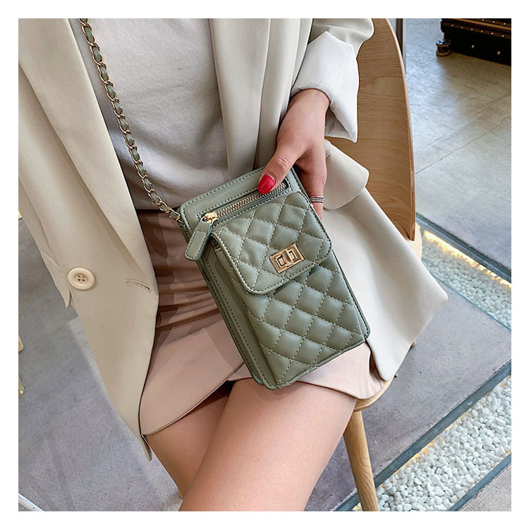 fashion chic quilted leather chain bag mini phone bag - HIMODA -olive