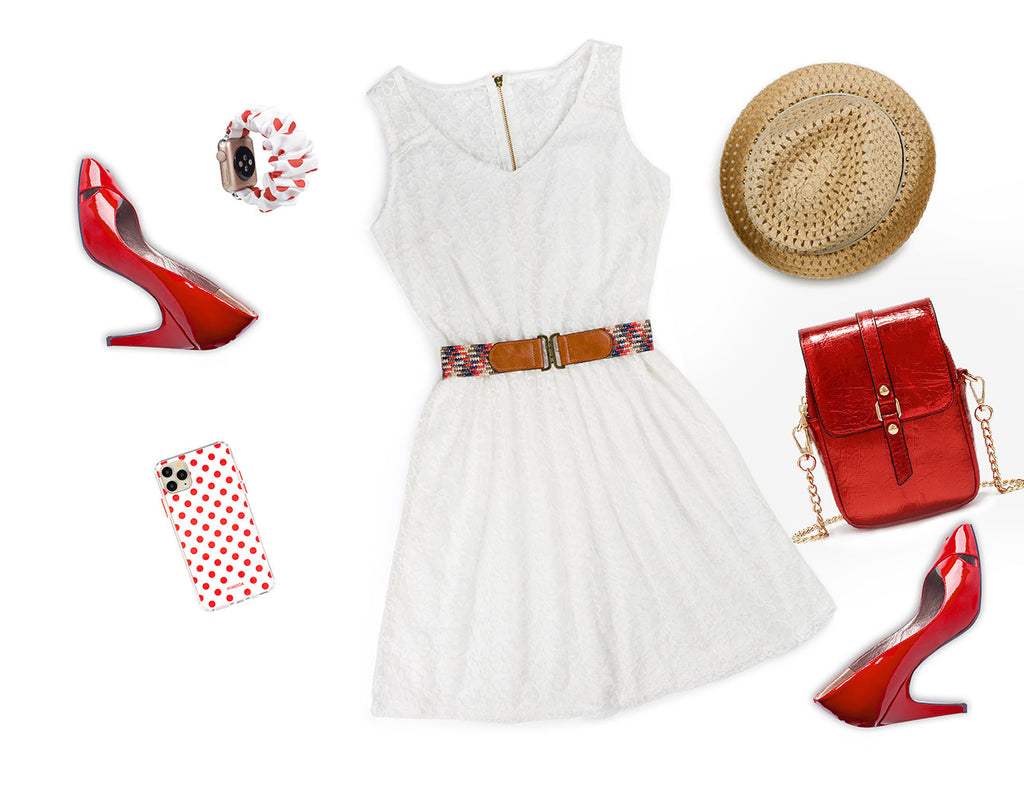 HIMODA styling idea summer white red - iphone case-bag-scrunchie polka dots