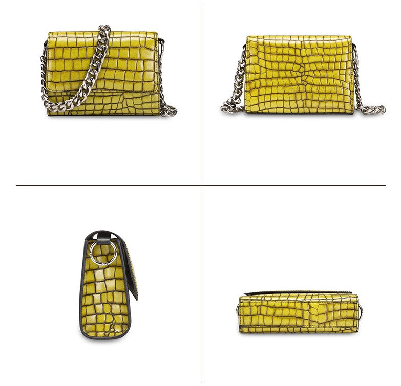 chunky chain link bag mini- croc leather in mustard color - HIMODA