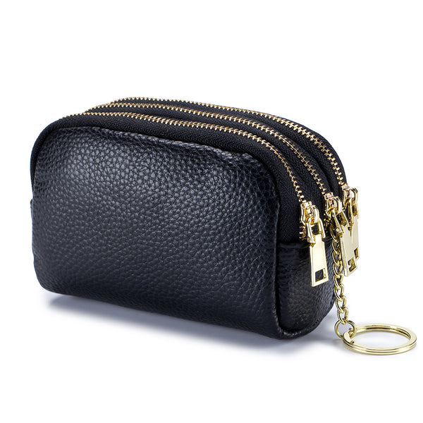 himoda leather 3 layer coin pouch with keychain