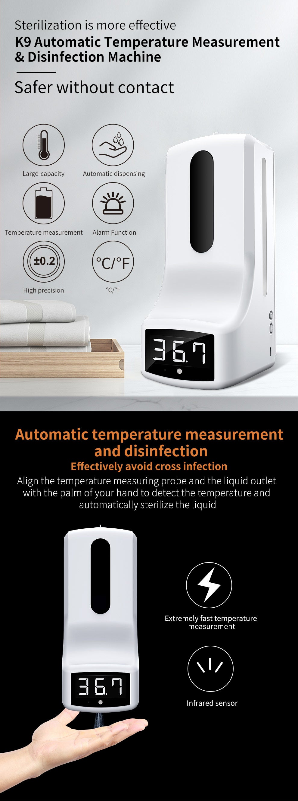 K9 new easy to use automatic hand temperature measurement disinfection machine