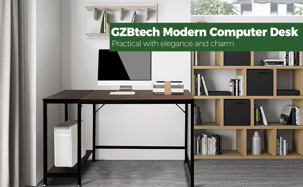 GZBtech 140CM Length Computer Desk Metal Frame Modern Laptop Desk