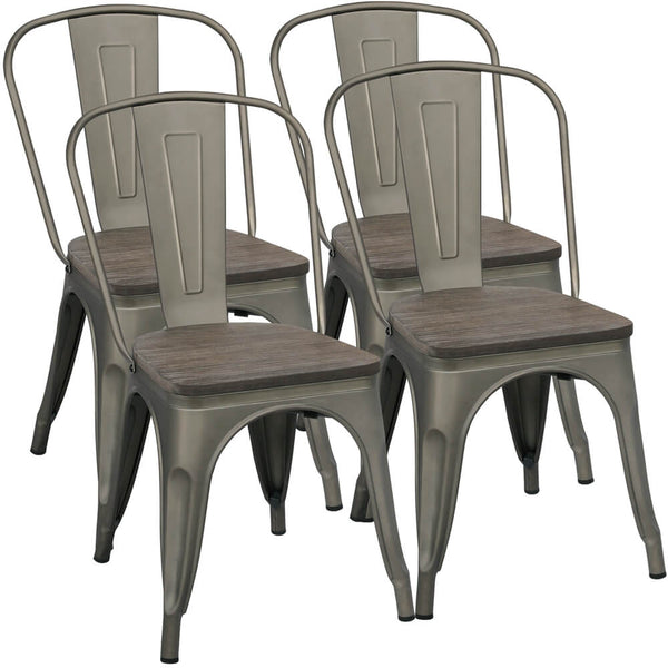 Yaheetech Metal Dining Chairs with Wood Seat