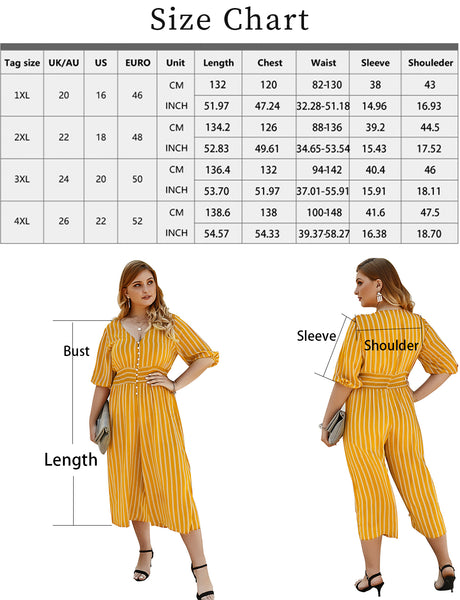 GDCG1003 size chart Women's Short Pants Half Sleeve Stripe Plus Size Jumpsuit | Gardenwed