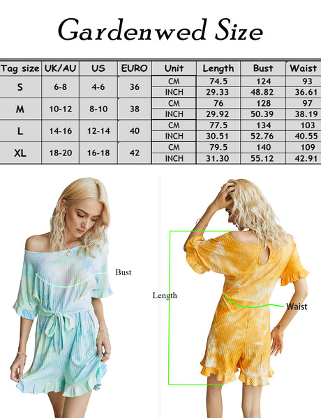 Size Chart Women Summer Short Jumpsuits Loose Casual Short Sleeve Belted Overlay Keyhole Back Tie Dye Jumpsuits Romper with Pockets | Gardenwed